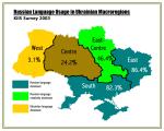 L'usage du russe en Ukraine, indiqué par grandes régions.