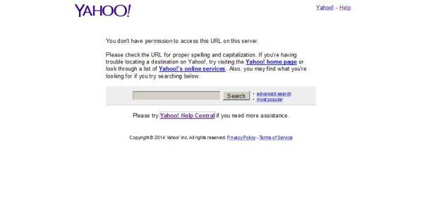 Une interférence mensongère : tout l'internet est autorisé à accéder le présent article, Yahoo est une corporation de pissotière qui cède aux censeurs. C'est pas tout à fait comme en Chine, mais ça y ressemble de plus en plus ..
