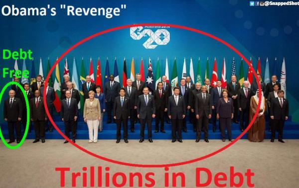 """Des """"trilliards"""", des millier de milliards de dettes.  Dans le coin, le bouc émissaire de l'Otan, de l'Empire anglo-américain, de ; Union Européenne, des massemédias occidentaux (et.. de la Lgbt!), est celui qui n'en a pratiquement pas :  La Fédération de Russie en la perosnne de Vladimir Putin.."""