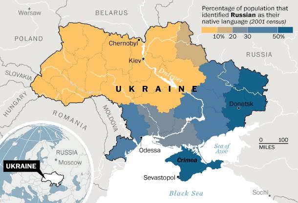 Une carte représentant, en bleu, le pourcentage de ceux qui se déclaraient russophones lors du recensement ukrainien de 2001,