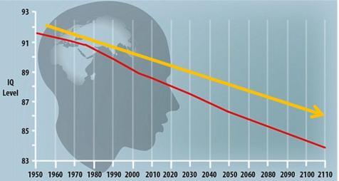 Graphique représentant la diminution du quotient intellectuel dans le monde entre 1950 et 2013, et en projection jusqu'à 2110 : MailOnline, University of Hartford.
