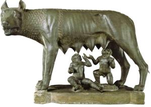 La Louve romaine allaitant Remus et Romulus.