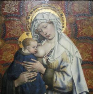 La Vierge, debout, allaitant l'Enfant. Tableau de Rogier Van der Weyden, ou Roger de la Pasture (1399 ou 1400 - 18 June 1464).
