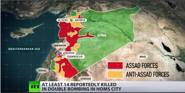 Carte diffusée par Rusia Today, 28 décembre 2015.  Le territoire en rouge est contrôlé par Assad et l'armée syrienne.  En jaune, Daesh.